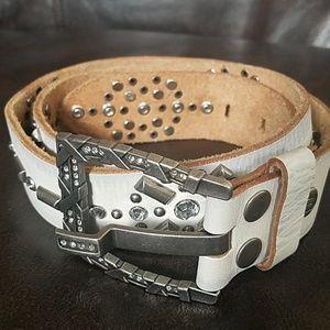 BKE Capricious Genuine Leather Embossed Rhinestone